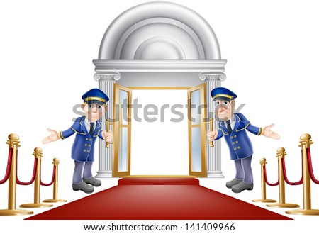 An illustration of a red carpet entrance with velvet ropes and two doormen welcoming the viewer in - stock vector