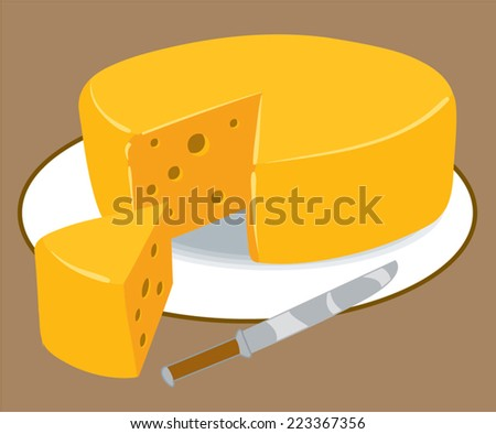 An Illustration of a round block of cheese - stock vector