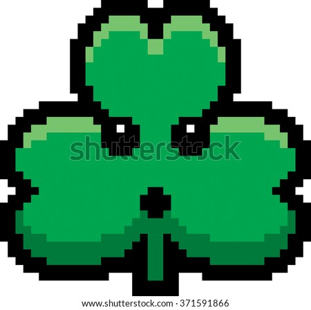 An illustration of a shamrock looking surprised in an 8-bit cartoon style. - stock vector