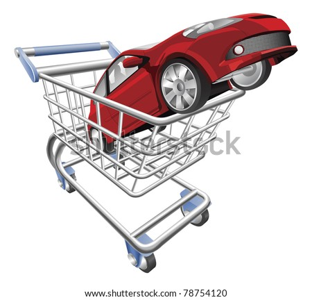 An illustration of a shopping cart trolley with car - stock vector