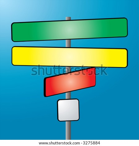 An illustration of a sign post in colour against a blue sky - stock vector