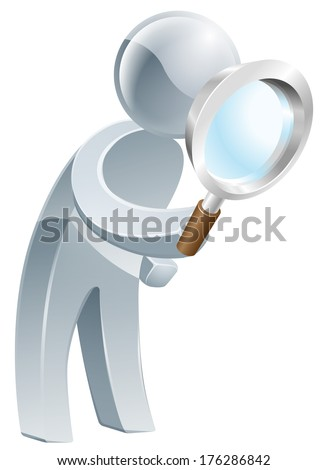 An illustration of a silver man looking through a magnifying glass - stock vector