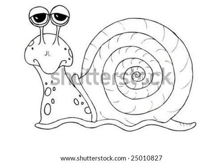 an illustration of a snail drawn by hand - stock vector