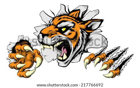 An illustration of a snarling tiger head bursting through a wall - stock vector