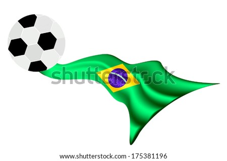 An Illustration of A Soccer Ball or Football on A Brazil Flag of Brazil Championship , Isolated on A White Background.