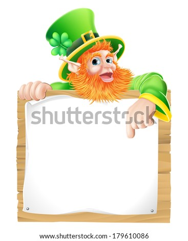 An illustration of a St Patricks day leprechaun cartoon character pointing down at a sign - stock vector