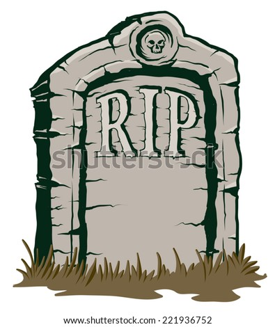 An Illustration of a stone tombstone rip - stock vector