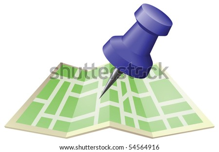 An illustration of a street map with drawing push pin. Can be used as an icon or illustration in its own right. - stock vector