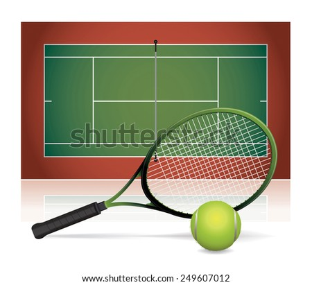 An illustration of a tennis court with a tennis racket and tennis ball. Vector EPS 10. - stock vector