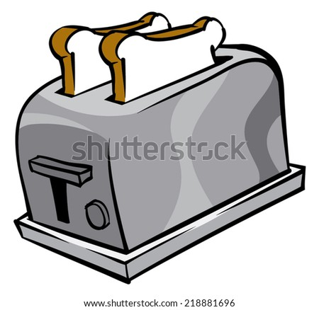 An Illustration of a toaster and two slices of bread - stock vector
