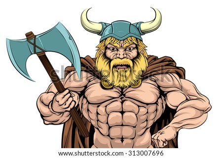 An illustration of a tough looking Viking Warrior mascot with an axe - stock vector
