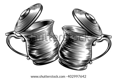 An illustration of a traditional beer stein or tankards chinking together in a prost toast in a woodcut style - stock vector