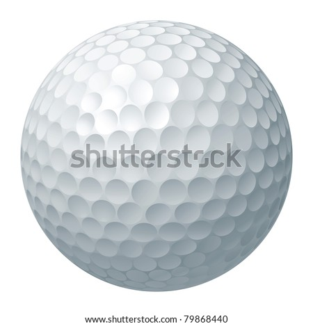 An illustration of a traditional white golf ball - stock vector
