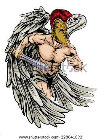 An illustration of a warrior angel character or sports mascot with big wings  in a trojan or Spartan style helmet holding a sword  - stock vector