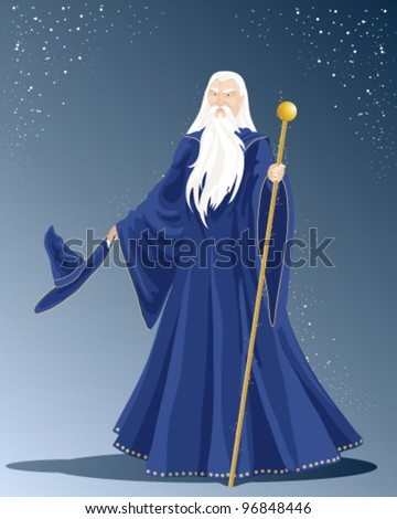 an illustration of a white haired wizard in a long blue cloak with hat and a golden staff under a starry sky - stock vector