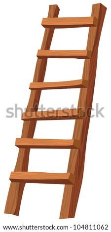 An illustration of a wooden ladder on white - stock vector