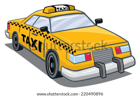 An Illustration of a yellow taxi with taxi on top and side - stock vector