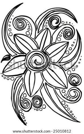 an illustration of an abstract flower drawn by hand - stock vector