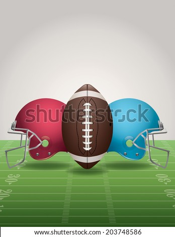An illustration of an American Football field, football, and helmets. Vector EPS 10. EPS file contains transparencies. Gradient mesh only used in the shadows below the helmets and ball on the field.