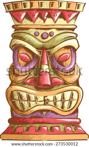 An Illustration of an Ancient Tiki Head Design - stock vector