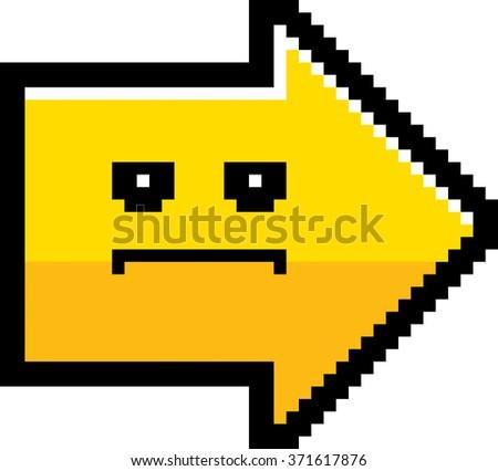 An illustration of an arrow looking serious in an 8-bit cartoon style. - stock vector