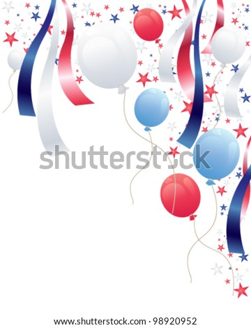 an illustration of an independence day party background with balloons stars and ribbons in red white and blue - stock vector