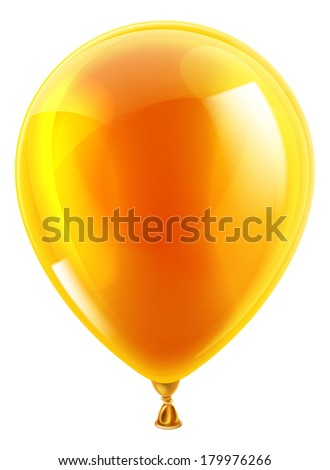 An illustration of an isolated orange birthday or party balloon - stock vector