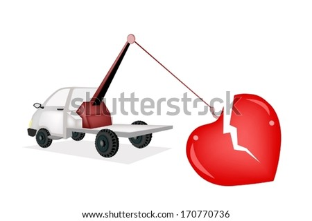An Illustration of Auto Wrecker Tow Truck, Recovery Truck, Breakdown Lorry or A Breakdown Truck Recover A Broken Heart to Hospital for Repairer.  - stock vector