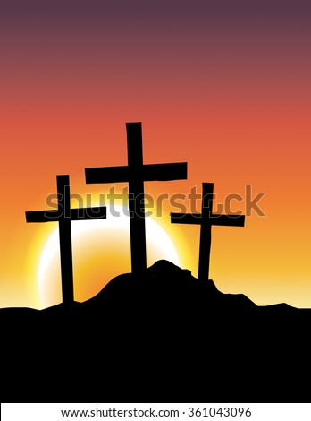 An illustration of Christian calvary crosses silhouetted ad a sunrise or sunset. Vector EPS 10 available. - stock vector