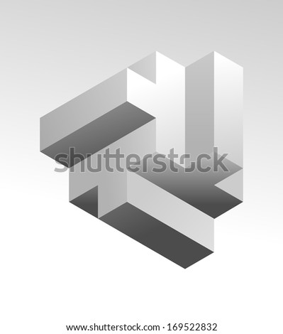 An illustration of 3d abstract design element