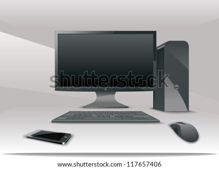 An illustration of desktop workstation and small tablet - stock vector
