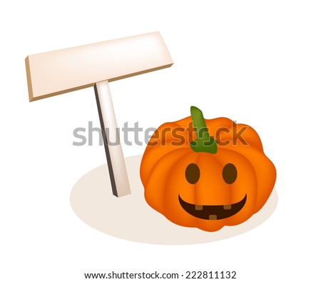 An Illustration of Empty Wooden Sign Board with Happy Jack-o-Lantern Pumpkins Isolated on White Background, For Halloween Celebration.  - stock vector