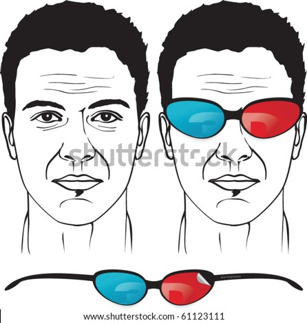 An illustration of  eyeglasses with 3d stereo filters on man face - stock vector