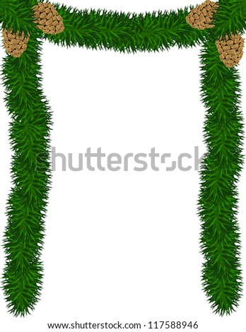 An illustration of garland an pine cones frame - stock vector