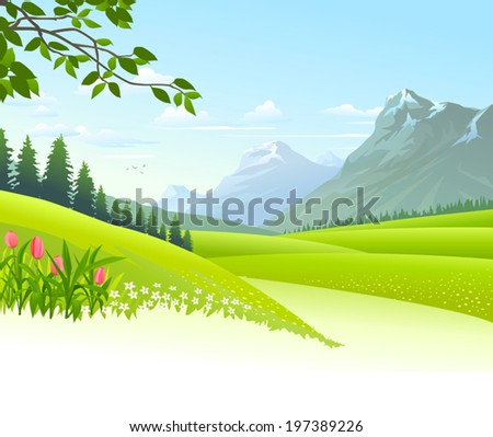 An illustration of heavenly landscape with lush green fields - stock vector