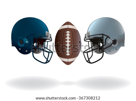 An illustration of isolated on white American football helmets and ball matching up for a championship. Vector EPS 10 available. EPS file contains transparencies and gradient mesh. - stock vector