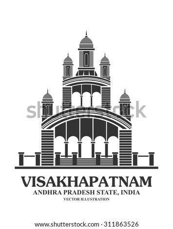 An illustration of Kali temple landmark in Visakhapatnam ,India - stock vector