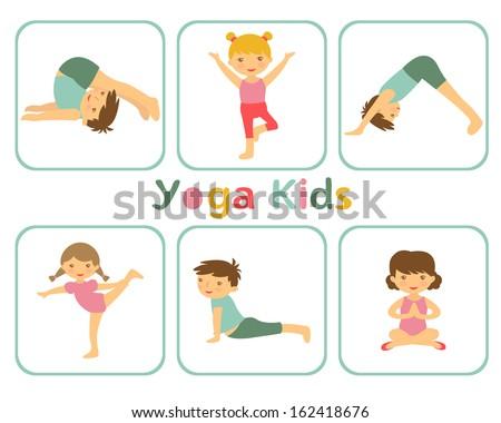 An illustration of little kids doing yoga - stock vector