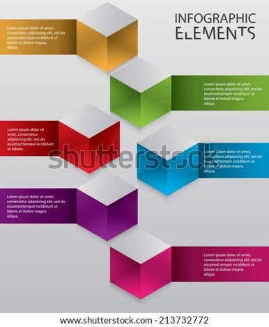 An Illustration of modern abstract 3d cube infographic elements