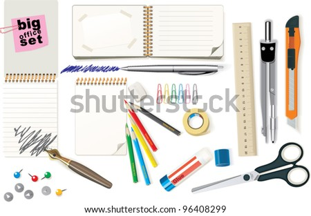An illustration of necessary office tools - stock vector