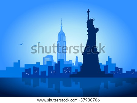 An illustration of New York City skyline - stock vector