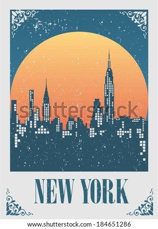 An illustration of New York City skyline at sunset - stock vector
