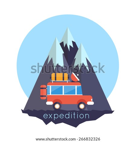 An illustration of off-road car on mountain road. Investigation untouched corners of nature. Hiking, travel, expedition. Travel by land. Outdoor Adventure. Vector illustration. Flat style. - stock vector