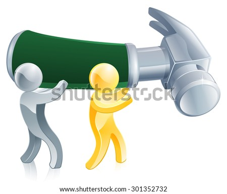An illustration of people repairing something with a big hammer - stock vector