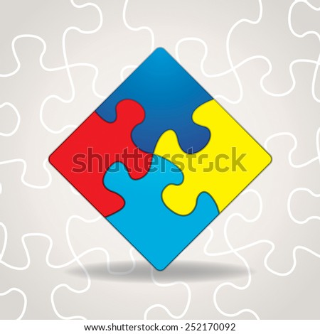 An illustration of puzzle pieces with symbolic autism awareness colors and shapes. Vector EPS 10. Gradient mesh in vector dropshadow. - stock vector