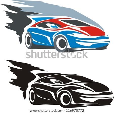 an illustration of rallye car design logo - stock vector