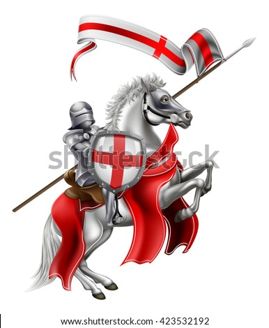An illustration of Saint George in medieval knight armour mounted on his horse - stock vector