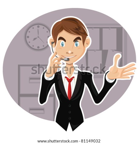 An illustration of smart, confident man with occupation as a salesman, customer service, call center, and IT Support, explaining procedure, giving solution, and communicate to help customer. - stock vector