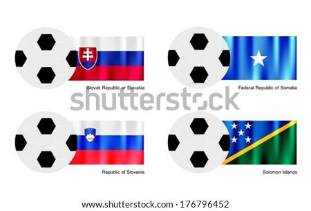 An Illustration of Soccer Balls or Footballs with Flags of Slovak Republic or Slovakia, Somalia, Slovenia and Solomon Islands Isolated on A White Background.  - stock vector
