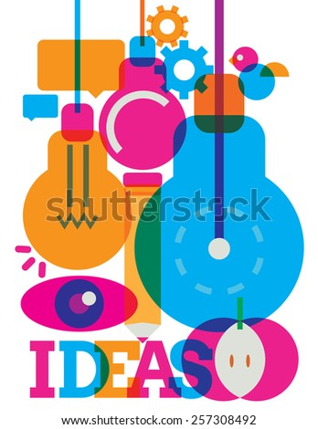 an illustration of symbolic icons related to creative ideas  - stock vector